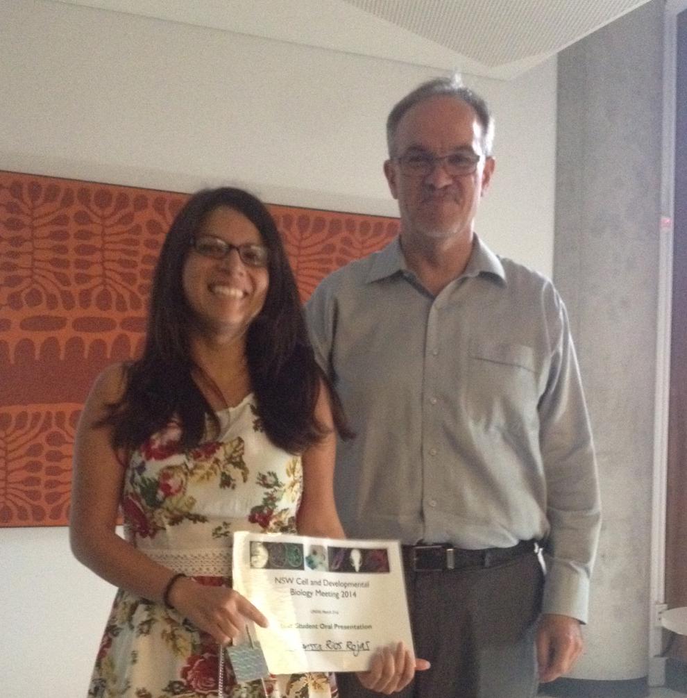 Clarissa Rios-Rojas (UQ) winner of the student speaker with Prof Nicholas Hawkins (HoS School of MEDICAL SCIENCES, UNSW)