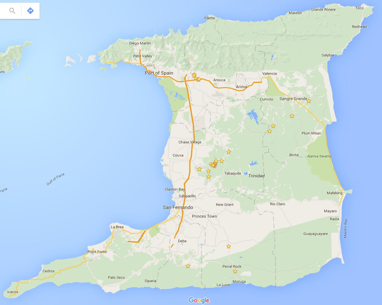 Figure 3: Map of Trinidad taken from Google Maps. We collect Carollia from the northern and central regions of Trinidad.