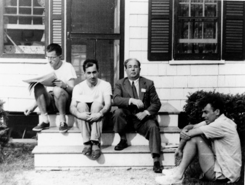 Aaron Novick and Leo Szilárd (in the middle) during the 1953 Phage course. On the left, Max Delbrück is reading a newspaper, whereas on the right a young James Watson is sitting on the ground. (Photo courtesy of Cold Springs Harbor Library.)