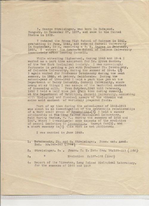 En early CV of George Streisinger. (Courtesy of Cory Streisinger.)