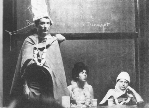 Closing ceremony for one of the later Phage courses. Frank Stahl can be seen on the left and Geroge Streisinger on the right.