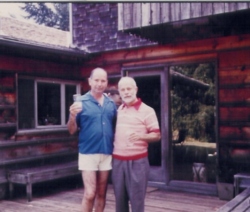 One of the last photos of George and Erwin Streisinger was taken in 1981 on the porch of Geroge's loghouse. (Photo courtesy of Cory Streisinger.)