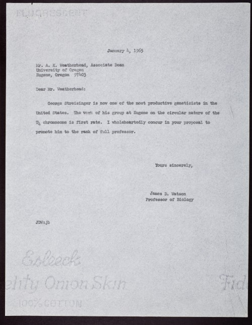 Watson's recommendation letter for Streisinger. (Courtesy of Cold Springs Harbor Library.)
