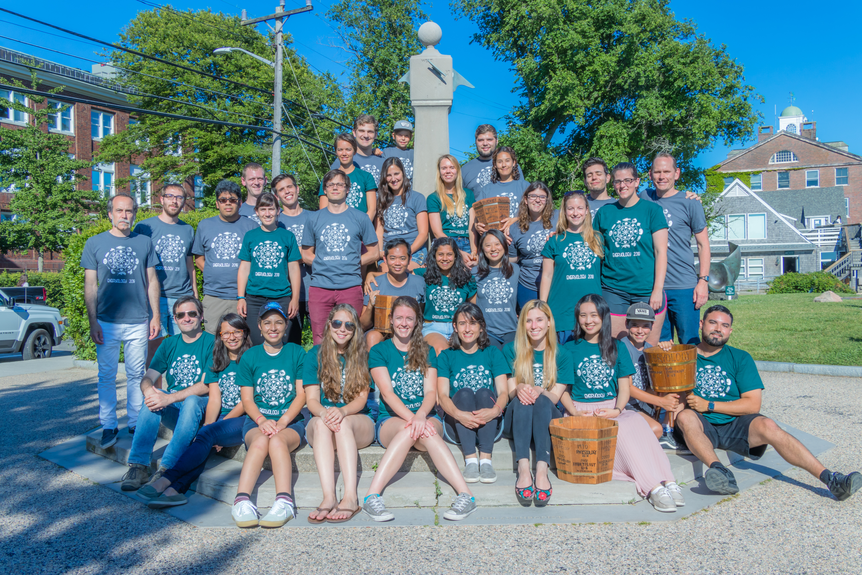 Embryology Course 2018 class photo, taken at the Waterfront Park in Woods Hole.