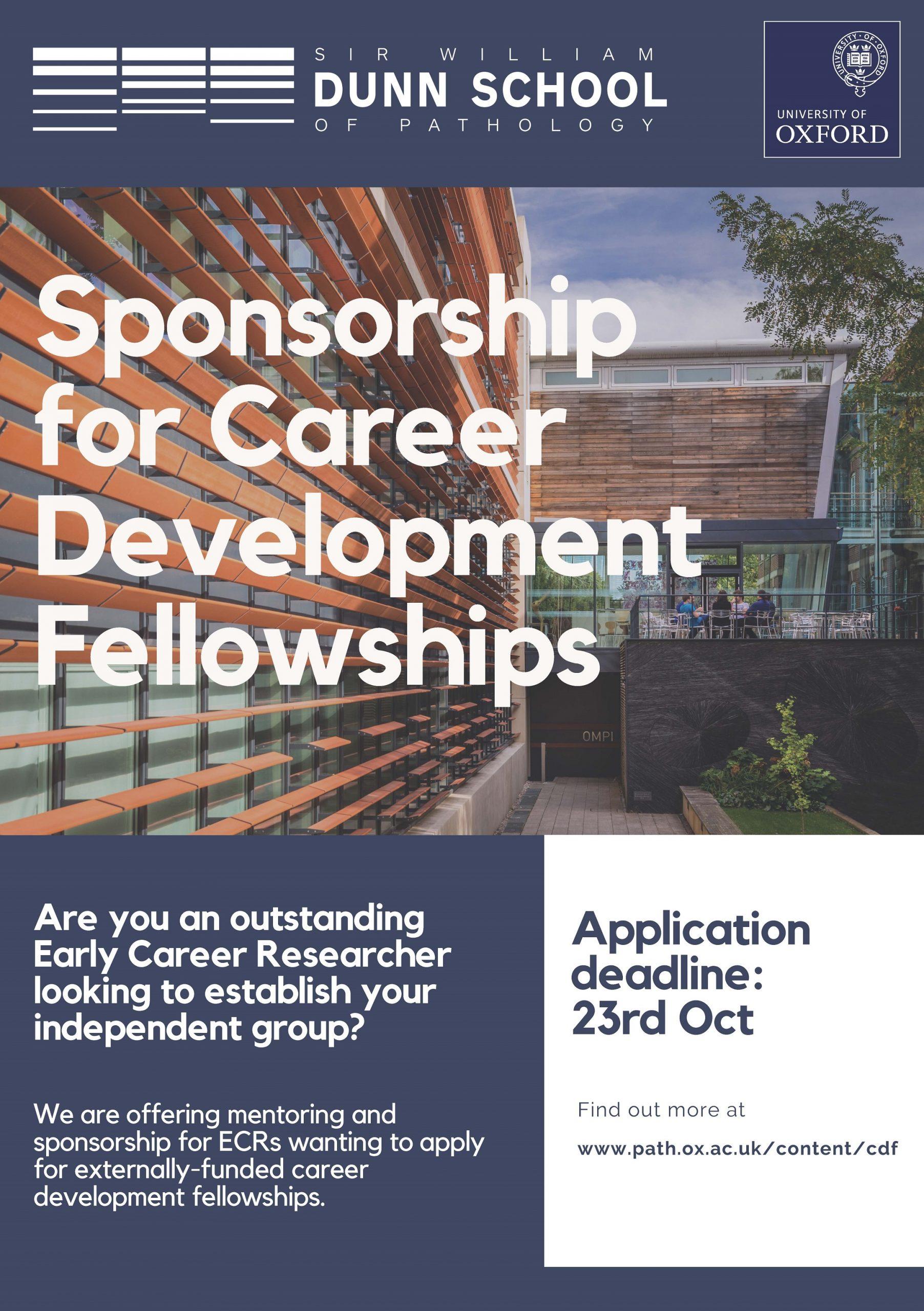 Poster advertising Dunn School's career development fellowships